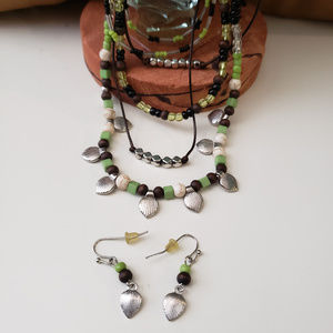 Jewelry - Green/brown beaded necklace/earring set